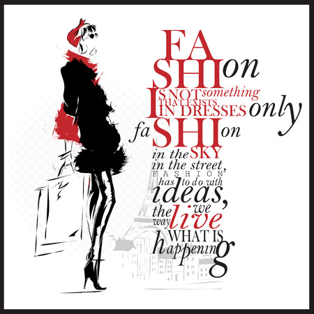 style woman: Fashion Illustration, woman with quote