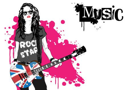 bass guitar women: beautiful musician playing guitar. Vector illustration