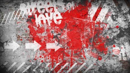 Graffiti: Grunge colorful background. Street of love