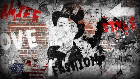 grunge wall: Modern teenage girl on grunge background. Grunge style. Modern generation. Stock Photo