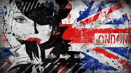 Modern teenage girl on grunge background. Grunge flag of United kingdom on the wall