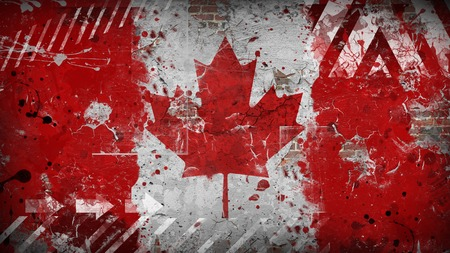 Canada grunge flag on the wall. Vintage, retro style.