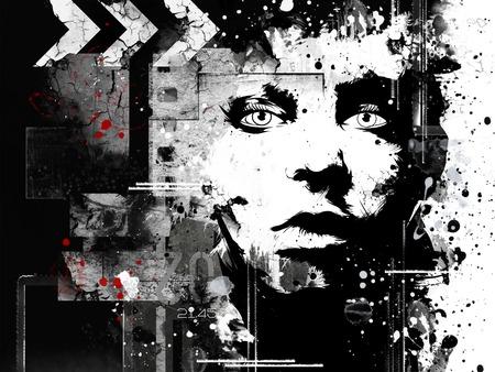 grunge: Modern teenage girl on grunge background. Grunge style. Modern generation. Stock Photo