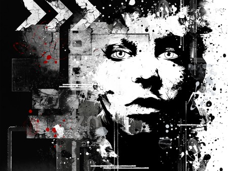 Modern teenage girl on grunge background. Grunge style. Modern generation. Standard-Bild