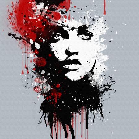 femme dessin: Le visage de la femme de mode. Résumé impression pour T-shirt