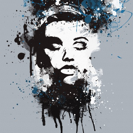 dirty girl: Fashion womans face. Abstract print for T-shirt