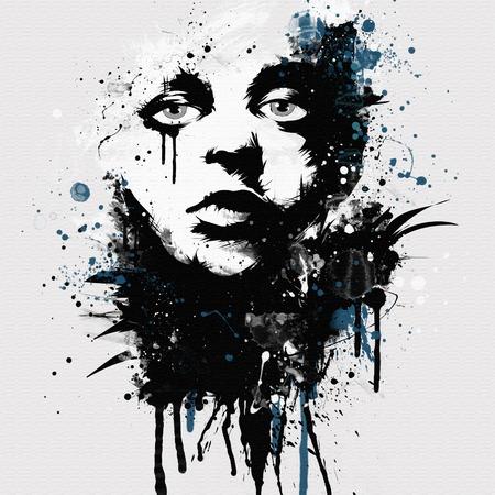 ファッション女性の顔。T シャツの印刷の概要