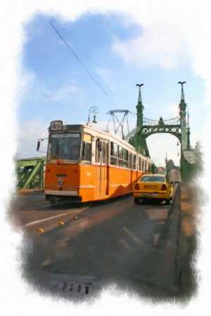watercolor illustration budapest view. Streets of Budapest Stock Photo