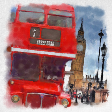 telephone box: London  in watercolor style. Fashion city