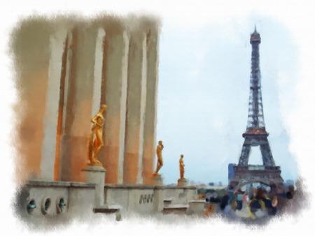 alexander: original oil painting of effiel tower paris Stock Photo