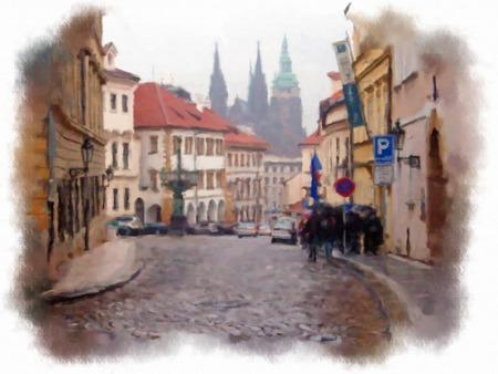 praga: Old Prague made in artistic watercolor style