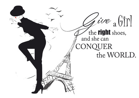 Fashion girl in sketch-style with fashionable quote. Vector illustration.