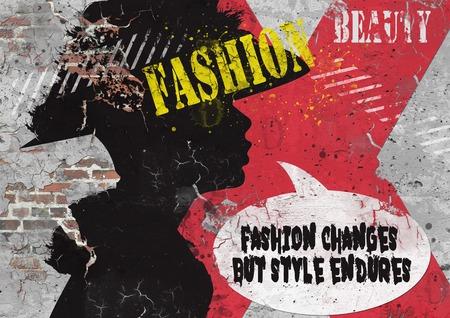 urban background: Modern teenage girl on grunge background. Grunge style. Modern generation. Stock Photo