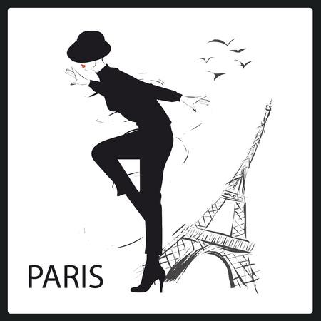 mujeres fashion: Chica de moda en el estilo de dibujo. Ilustración del vector.
