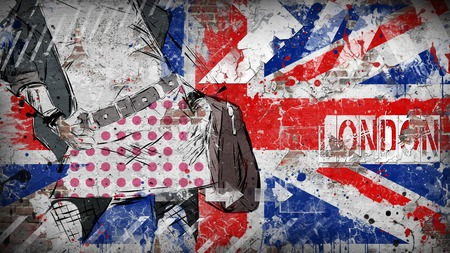 adolescent sexy: Modern teenage girl on grunge background. Grunge flag of United kingdom on the wall