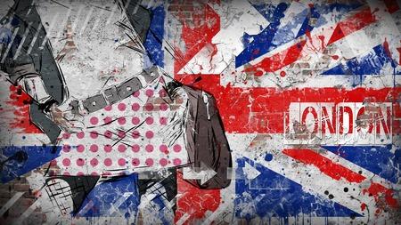 uk flag: Modern teenage girl on grunge background. Grunge flag of United kingdom on the wall
