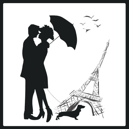 lovers kissing: Happy young lovers couple kissing in front of Eiffel Tower, Paris, France. Illustration