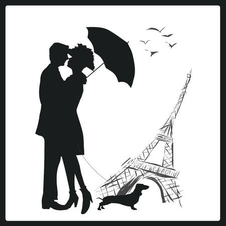 jeunes joyeux: Heureux jeune couple baiser amoureux en face de la Tour Eiffel, Paris, France. Illustration