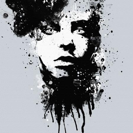 Het gezicht van de vrouw van de manier. Abstracte druk voor T-shirt