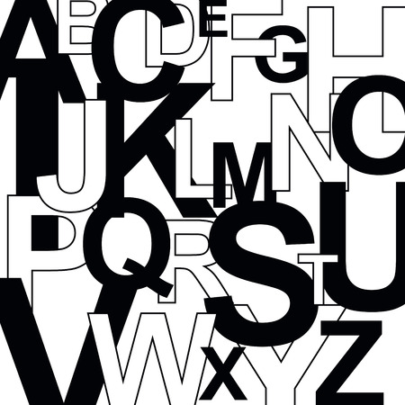 Pattern with letters. Abstract alphabet background. Illustration
