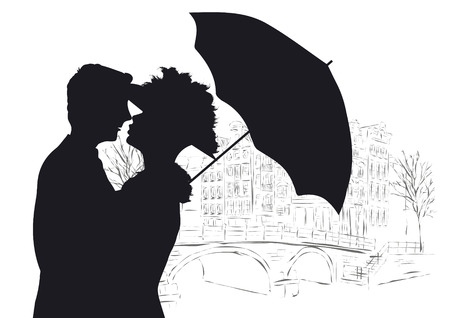 lovers kissing: Happy young lovers couple kissing in Amsterdam Illustration