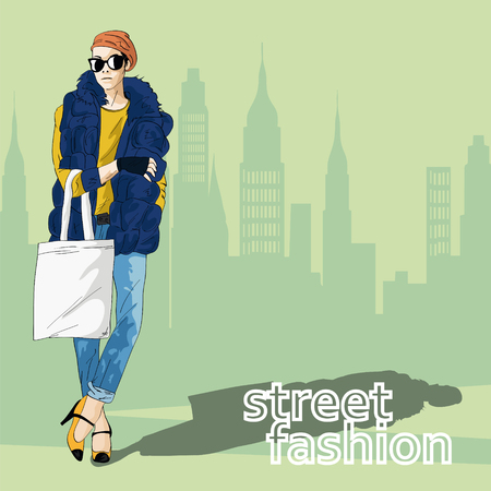 fashion design: Fashion girl in sketch-style. Vector illustration.