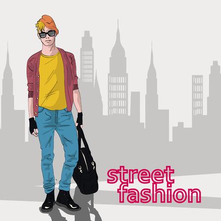 mega city: Vector illustration of the stylish guy