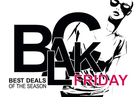 friday 13th: Elegant shopping woman Black Friday advertising background template.