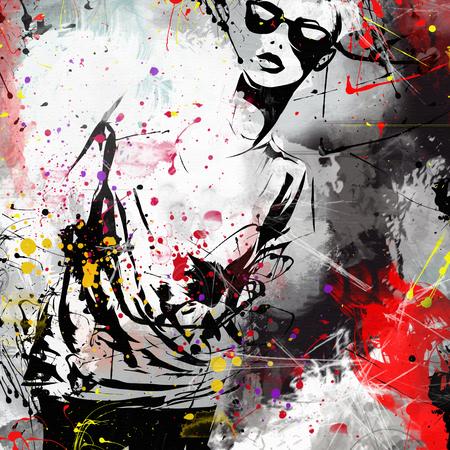 color model: Modern teenage girl on grunge background. Grunge style. Modern generation. Stock Photo