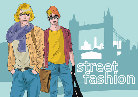 stylish women: Fashion girl and boy in sketch-style. Vector illustration.