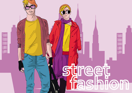 Fashion girl and boy in sketch-style. Vector illustration.