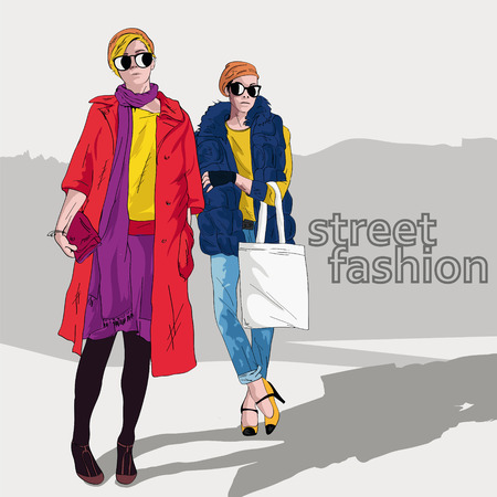 vintage fashion: Fashion girl in sketch-style. Vector illustration.