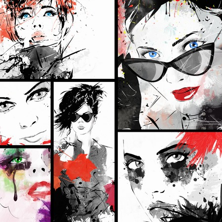 Beautiful collage , faces of women . Hand painted fashion illustration Imagens