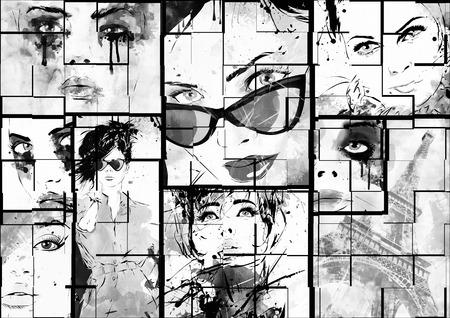 collage caras: Collage hermoso, rostros de las mujeres. Pintado a mano ilustración de moda