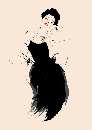 makeup fashion: Fashion girl in sketch-style. Vector illustration.
