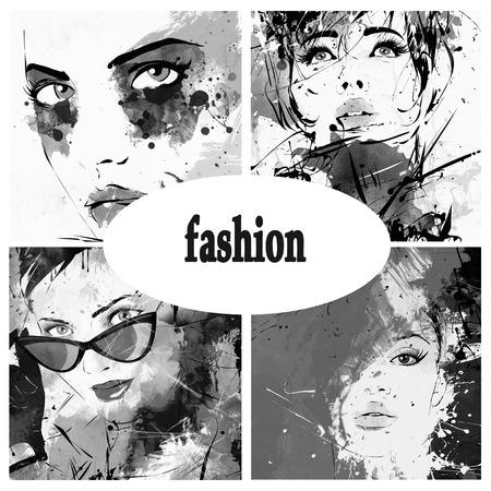 collage caras: Collage hermoso, rostros de las mujeres. Pintado a mano ilustraci�n de moda