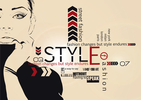 sixties: Fashion girl in sketch-style.  Illustration