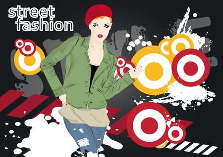 Fashion girl in sketch-style.