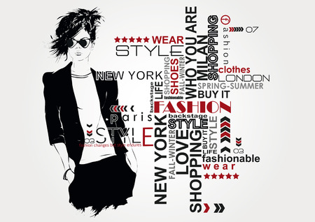 мода: Мода девушка в эскиза стиле. Иллюстрация