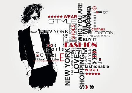 時尚: 時尚女孩素描風格。 向量圖像