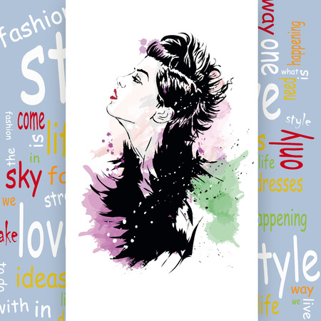 fashion and beauty: Fashion girl in sketch-style.