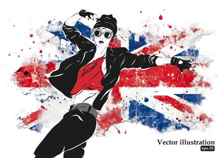 british girl: Fashion girl in sketch-style. Vector illustration.