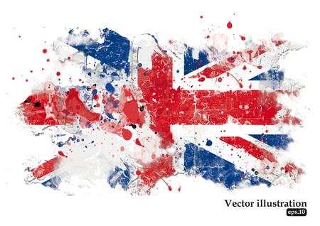 bandera de gran bretaña: Bandera británica sobre un fondo blanco. Grunge fondo. Ilustración vectorial Vectores