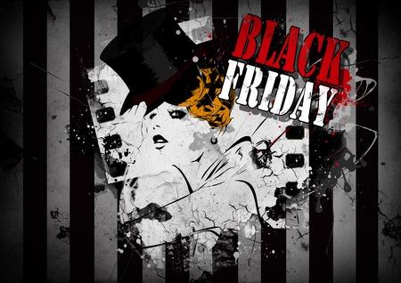 thanksgiving adult: Elegant shopping woman Black Friday advertising background template.