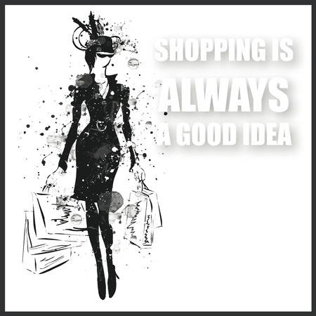 young woman: Fashion girl in sketch-style. Vector illustration.