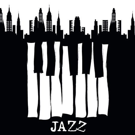 Jazz music festival, poster background template. Vector design. Ilustração