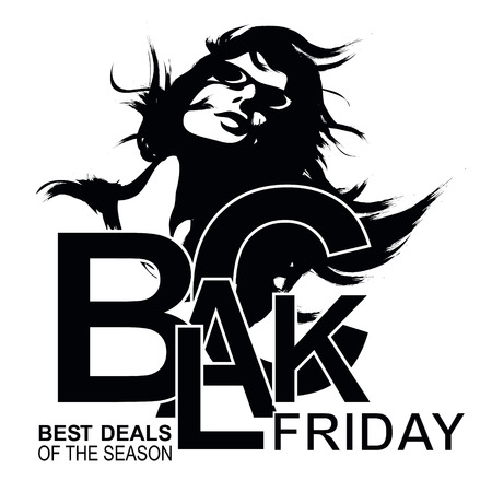 13th: Elegant shopping woman Black Friday advertising background template.