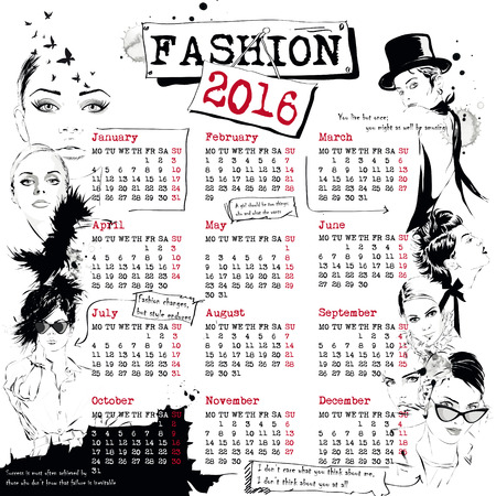 fashion girl: Calendar with fashion girl. Vector illustration