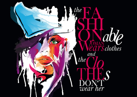 Fashion Illustration, woman with quote