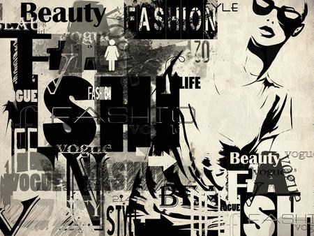 sexy brunette woman: Modern teenage girl on grunge background. Grunge style. Modern generation. Stock Photo